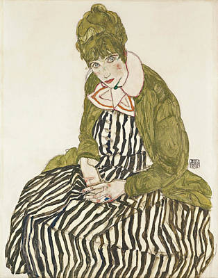 Edith With Striped Dress, Sitting Art Print by Egon Schiele