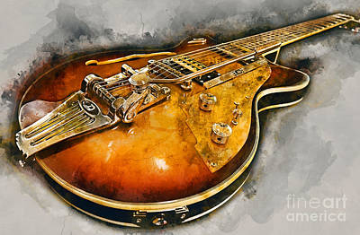 Jazz Mixed Media Royalty Free Images - Electric Guitar Royalty-Free Image by Ian Mitchell