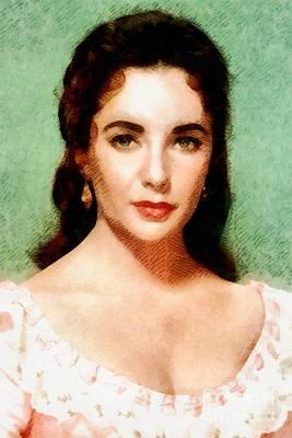 Elizabeth Taylor Painting - Elizabeth Taylor Hollywood Actress by John Springfield