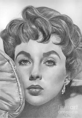 Elizabeth Taylor Drawing - Elizabeth Taylor by Karen Townsend