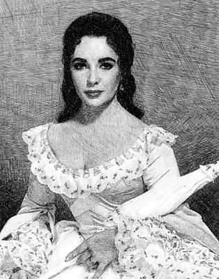 Actors Drawings - Elizabeth Taylor, Vintage Actress by JS by John Springfield