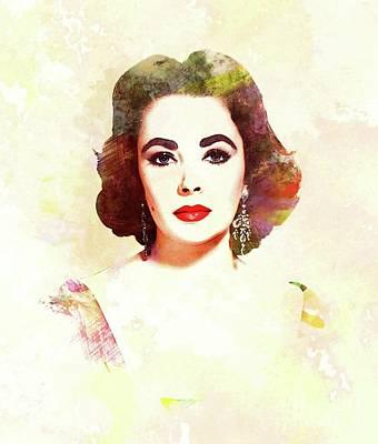 Actors Digital Art - Elizabeth Taylor, Vintage Actress by John Springfield