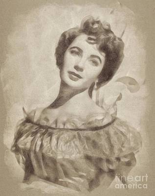 Actors Royalty-Free and Rights-Managed Images - Elizabeth Taylor, Vintage Hollywood Legend by John Springfield by John Springfield