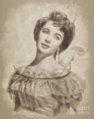 Actors Drawings - Elizabeth Taylor, Vintage Hollywood Legend by John Springfield by John Springfield