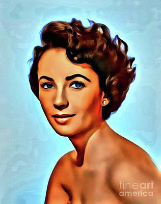 Business Digital Art - Elizabeth Taylor, Vintage Hollywood Legend by Mary Bassett