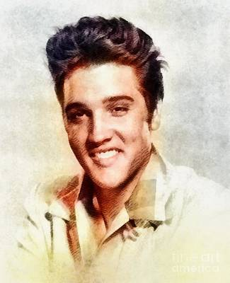 Rock And Roll Royalty-Free and Rights-Managed Images - Elvis Presley, Music Legend by John Springfield