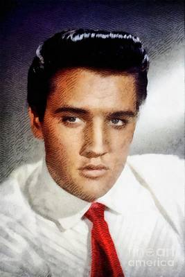Music Paintings - Elvis Presley, Rock and Roll Legend by John Springfield