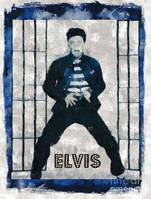 Elvis Presley Painting - Elvis Presley, Singer by Mary Bassett