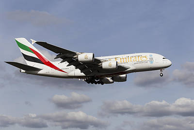 Airlines Photograph - Emirates A380 Airbus by David Pyatt