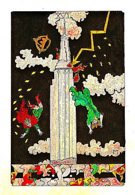 Empire State Building Drawing - Empire by Ted McBurnett