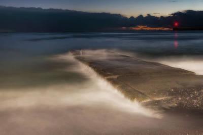 Photograph - Genova Wavescape - Onde Sul Molo Con Faro by Enrico Pelos