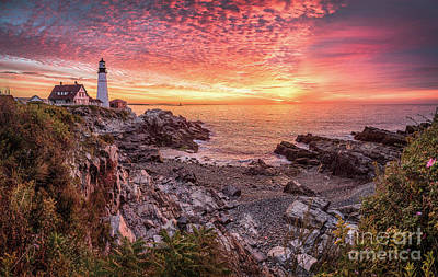 Best Ocean Photograph - Epic Sunrise At Portland Head Light by Benjamin Williamson