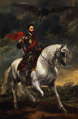 Man Painting - Equestrian Portrait Of The Emperor Charles V by Anthony van Dyck
