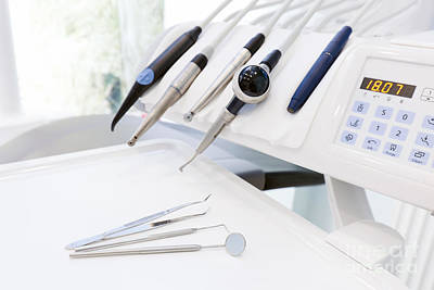 Interior Photograph - Equipment And Dental Instruments In Dentist's Office by Michal Bednarek