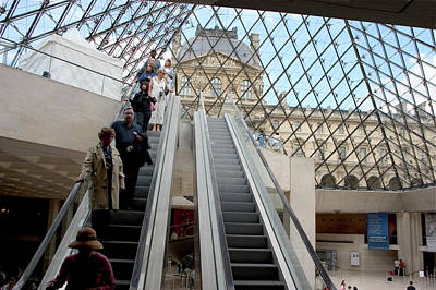 Escalator Entrance To Louvre Art Print by Carl Purcell