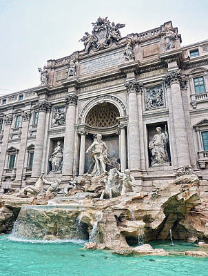 Photograph - Evening At The Trevi Fountain In Rome Italy by Richard Rosenshein