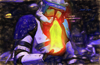 Execute Order 66 Blue Team Commander - Texturized Style Art Print by Leonardo Digenio
