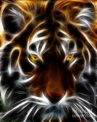 Tiger Fractal Photograph - Eye Of The Tiger by Wingsdomain Art and Photography