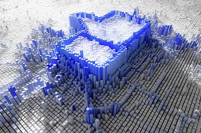 Cyberspace Digital Art - Facebook Like Logo In Pixels by Allan Swart