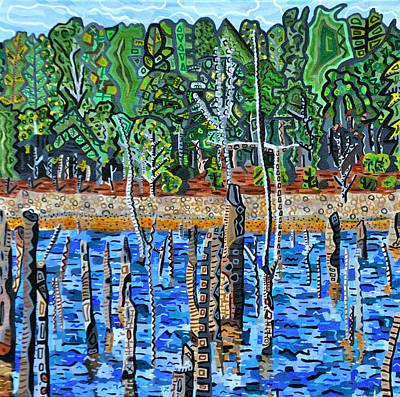 North Fork Painting - Falls Lake At Six Forks Road by Micah Mullen