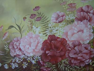 Art Print featuring the painting Family Flowers by Leslie Manley