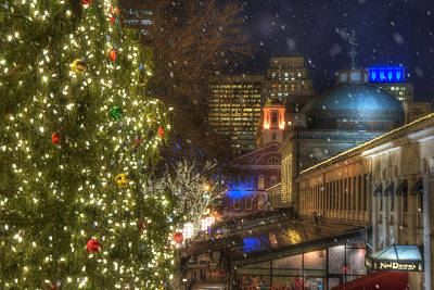 Faneuil Hall Christmas Art Print