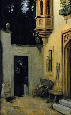 Entrance Door Painting - Farewell At Dawn by  Moritz von Schwind