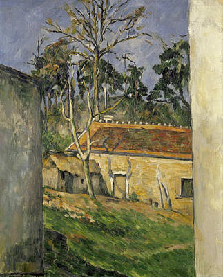 Europe Painting - Farmyard by Paul Cezanne