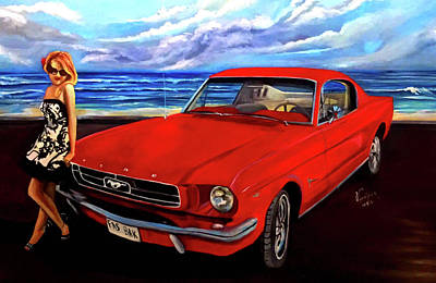 1965 Mustang Painting - Fast Back  by Veronica Castaneda