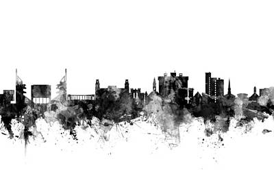 University Of Arkansas Wall Art - Digital Art - Fayetteville Arkansas Skyline by Michael Tompsett