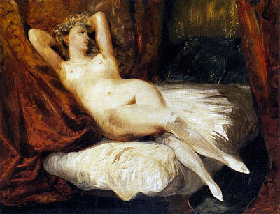 Reclined Painting - Female Nude Reclining On A Divan by Eugene Delacroix