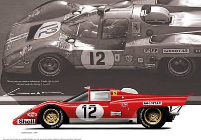 Ferrari 512m Le Mans 1971 Art Print by Luc Cannoot