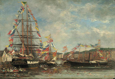 Painting - Festival In The Harbor Of Honfleur by Eugene Boudin