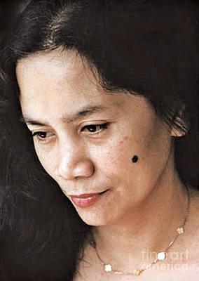 Beauty Mark Digital Art - Filipina Beauty With A Mole On Her Cheek by Jim Fitzpatrick
