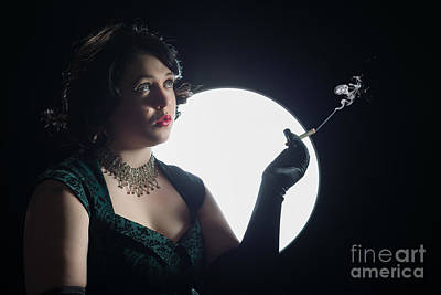 Film Noir Smoking Woman Print by Amanda Elwell