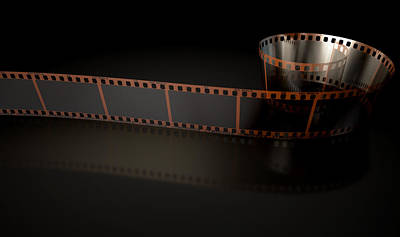 35mm Digital Art - Film Strip Curled by Allan Swart