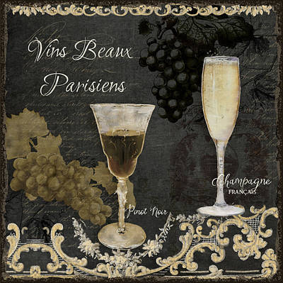 Red Wine Painting - Fine French Wines - Vins Beaux Parisiens by Audrey Jeanne Roberts