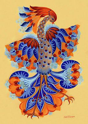 Hallway Decor Drawing - Firebird by Olena Skytsiuk
