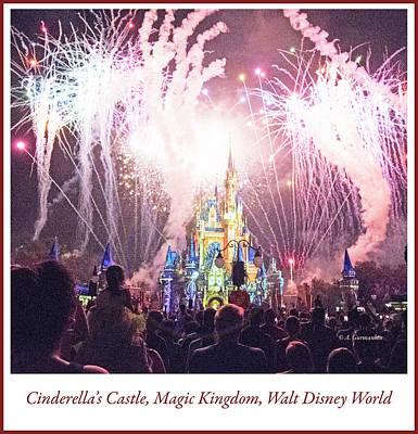 Digital Art - Fireworks, Cinderella's Castle, Magic Kingdom, Walt Disney World by A Gurmankin