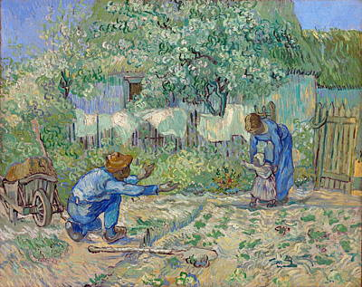 First Steps Painting - First Steps, After Millet by Vincent van Gogh