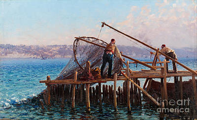 Net Painting - Fishermen Bringing In The Catch by Celestial Images