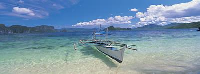 Fishing Boat Moored On The Beach Art Print