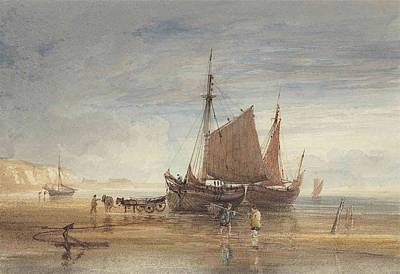Shrimper Painting - Fishing Boats And Shrimpers On The Shore by Anthony Vandyke