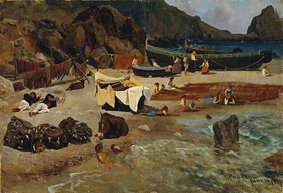 Boats Painting - Fishing Boats At Capri by Celestial Images