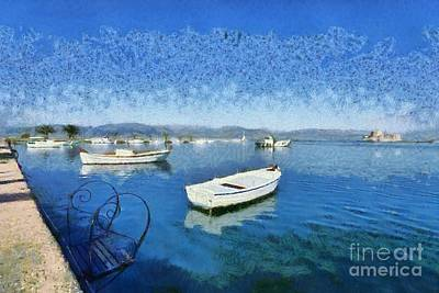 Painting - Fishing Boats In Nafplio Town by George Atsametakis