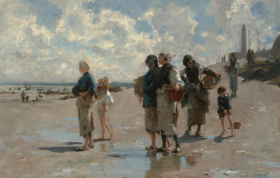 Woman Fishing Painting - Fishing For Oysters At Cancale by John Singer Sargent
