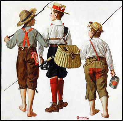 Painting - Fishing Trip by Norman Rockwell