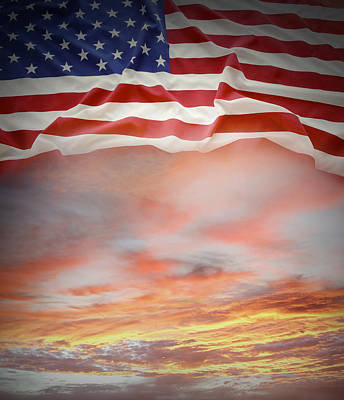 Flag And Sky Art Print by Les Cunliffe