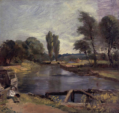 Riverside Painting - Flatford Lock by John Constable