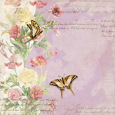 Painting - Fleurs De Pivoine - Watercolor W Butterflies In A French Vintage Wallpaper Style by Audrey Jeanne Roberts